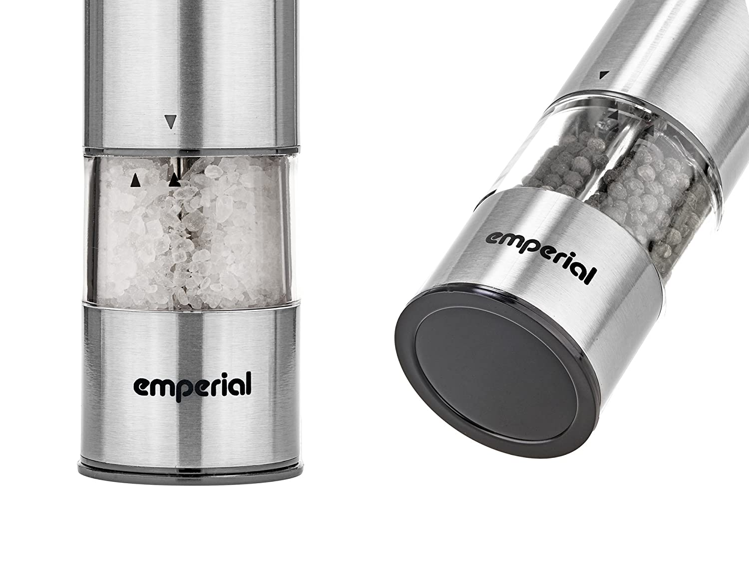 Stainless Steel Electronic One Touch Operation Emperial Electric Salt and Pepper Mill Grinders Set Easy Refill /& Adjustable Coarseness