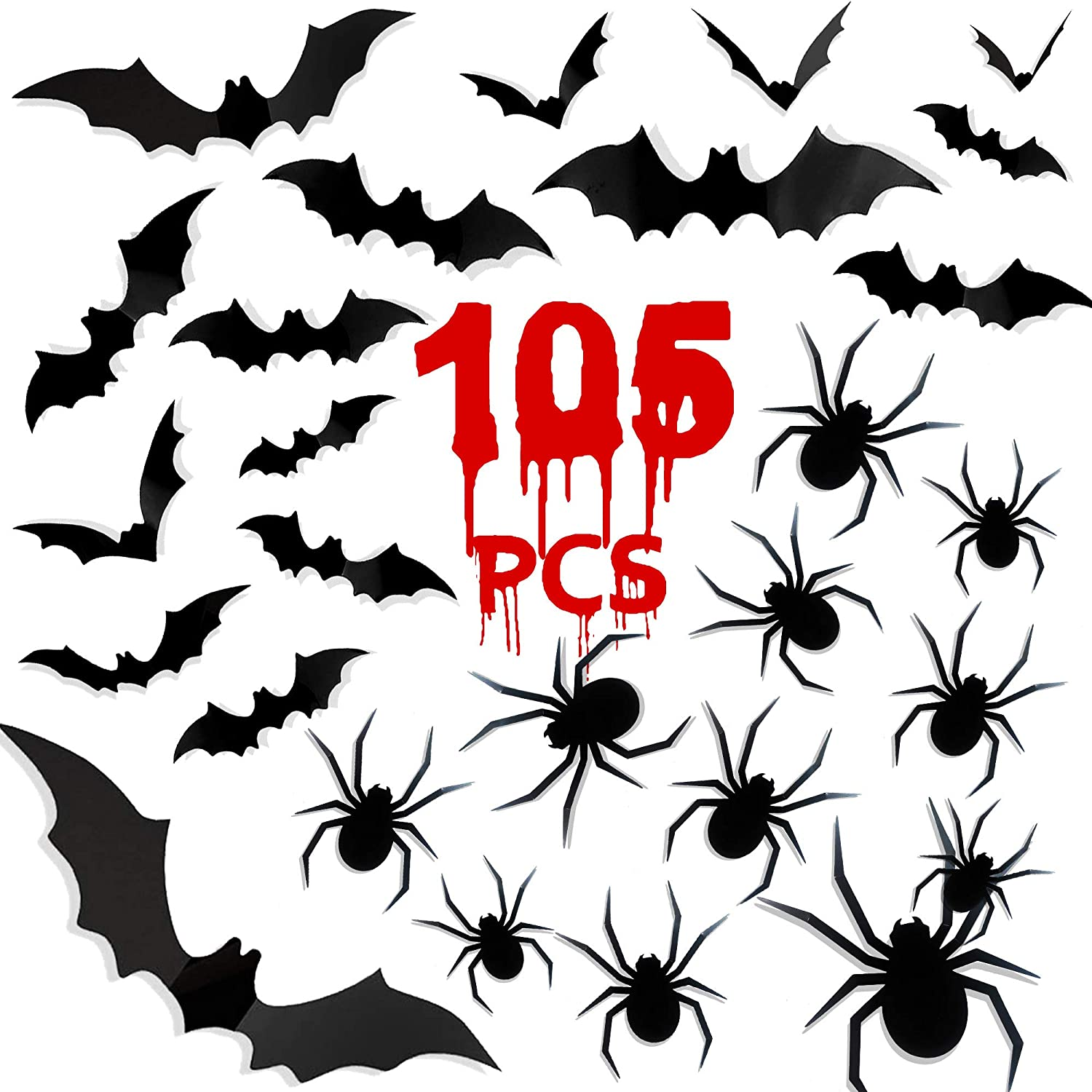 Funnlot Halloween Bats Spiders 105PCS Bats Decor with Spiders Bats Halloween Decorations Halloween 3D Bats Spiders Decorations Bat Wall Decor Plastic Bats Spiders for Halloween Office Decorations Wall