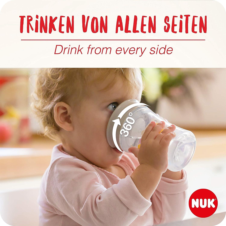 abdichtende Silikonscheibe grau ab 8 Monaten 2 St/ück BPA frei NUK Monochrome Animals Magic Cup 230ml 360/°-Trinkrand