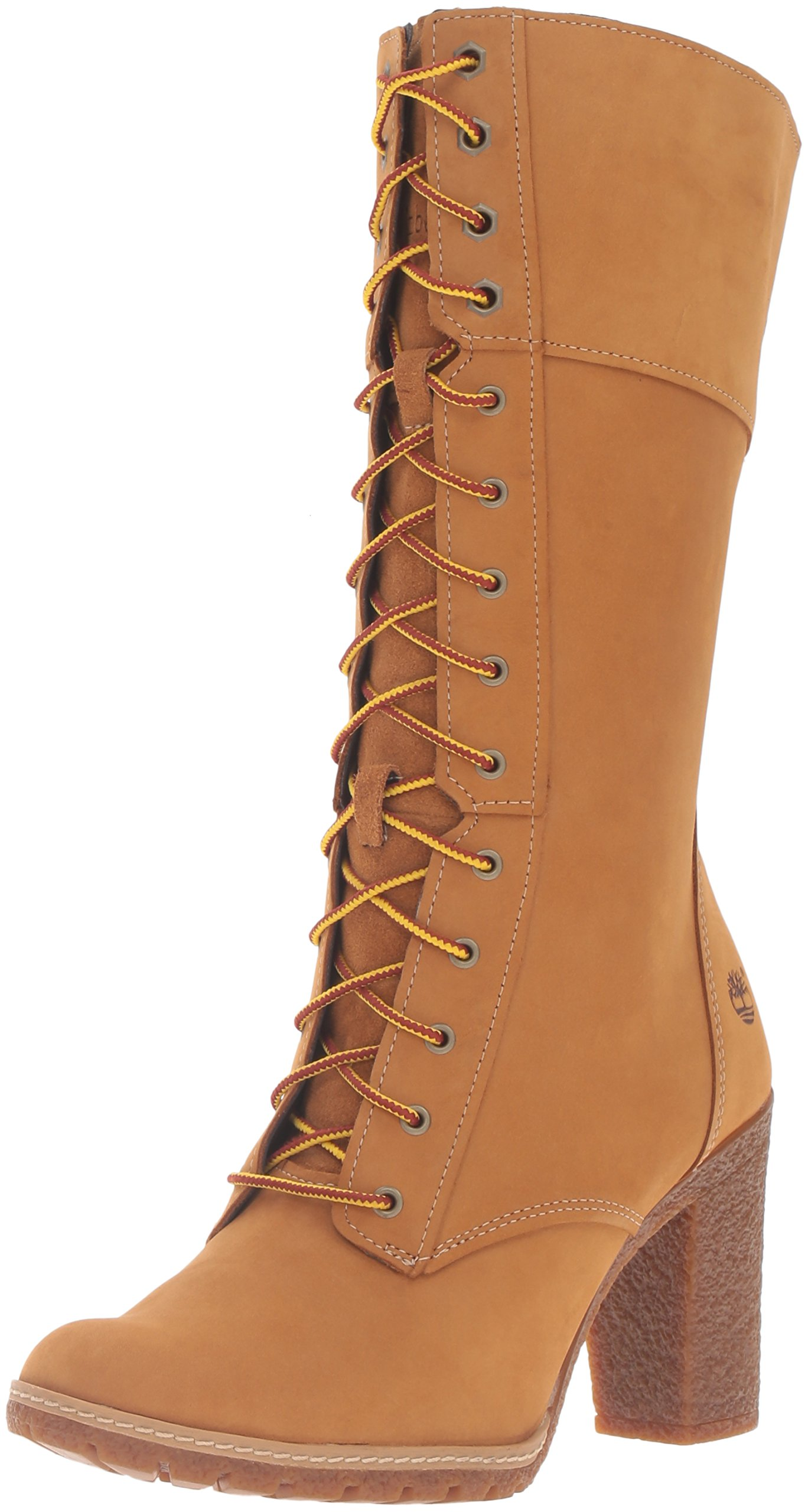Timberland Women's Glancy 10 Inch Lace Up Boot, Wheat Nubuck, 8 M US