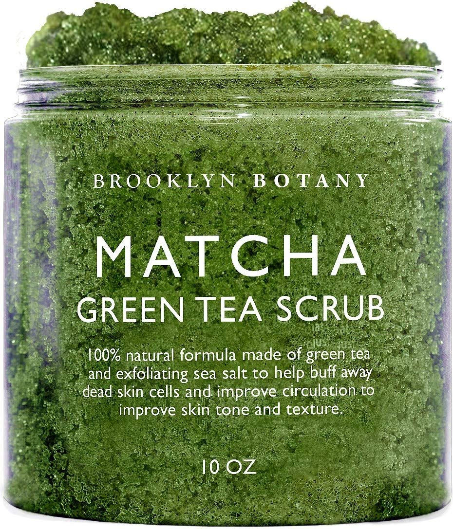 Brooklyn Botany Matcha Green Tea Exfoliating Body Scrub - Multi Purpose Body Scrub and Facial Scrub Moisturizes and Nourishes Face and Skin - Reduce Inflammation - Great Gifts For Women - 10 oz