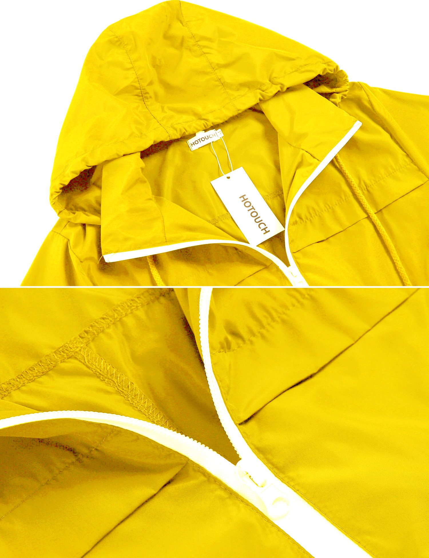 Hotouch Womens' Waterproof Lightweight Raincoat Hooded Outdoor Hiking Long Rain Jacket Yellow S by Hotouch (Image #3)