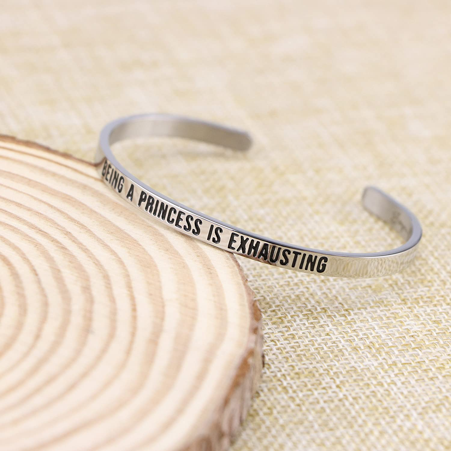 Joycuff Bracelets for Girls Mantra Cuff Bangles Feminist Jewelry Being a Princess is Exhausting
