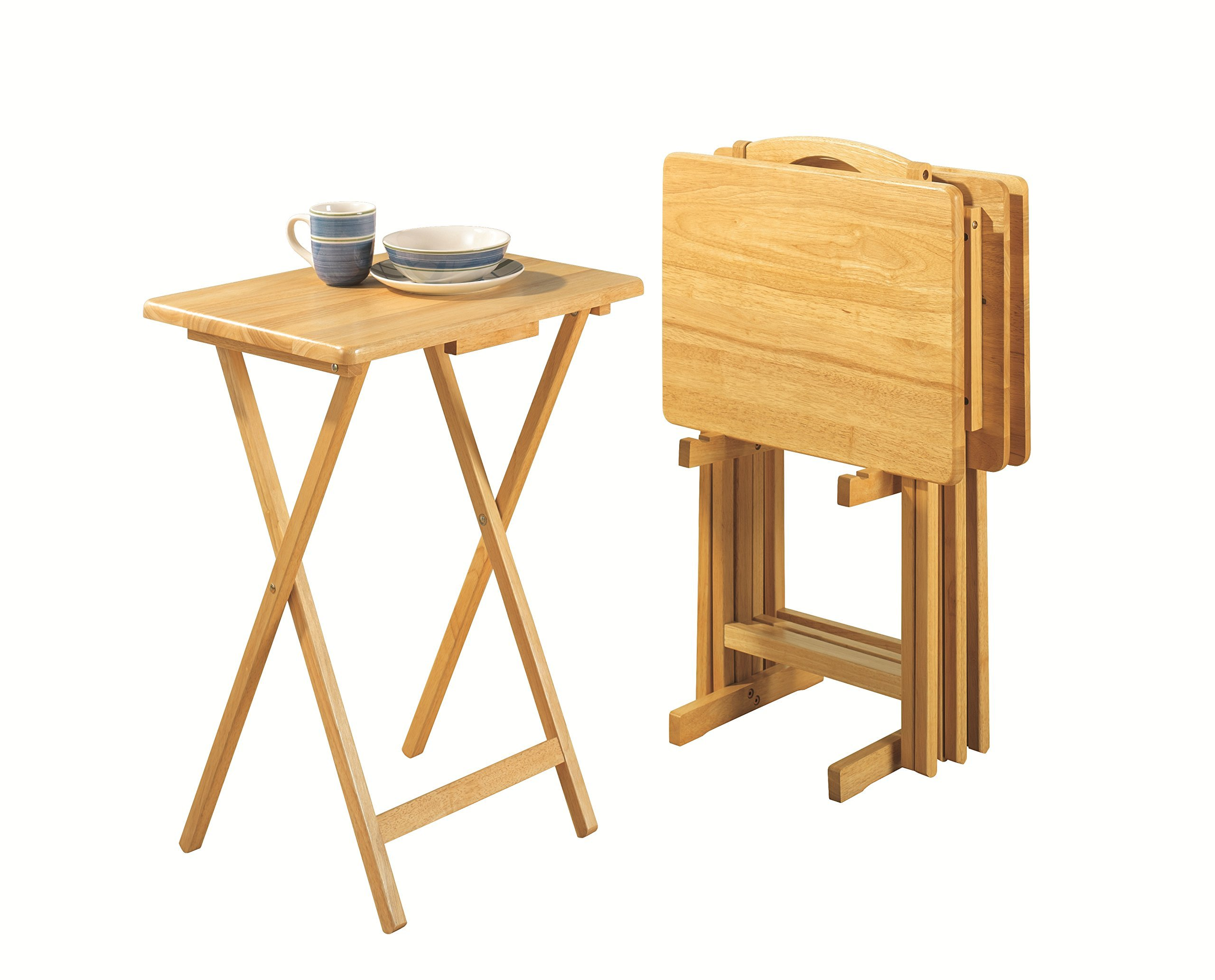 PJ Wood 5-piece Folding TV Tray & Snack Table - Natural Finish Rubberwood
