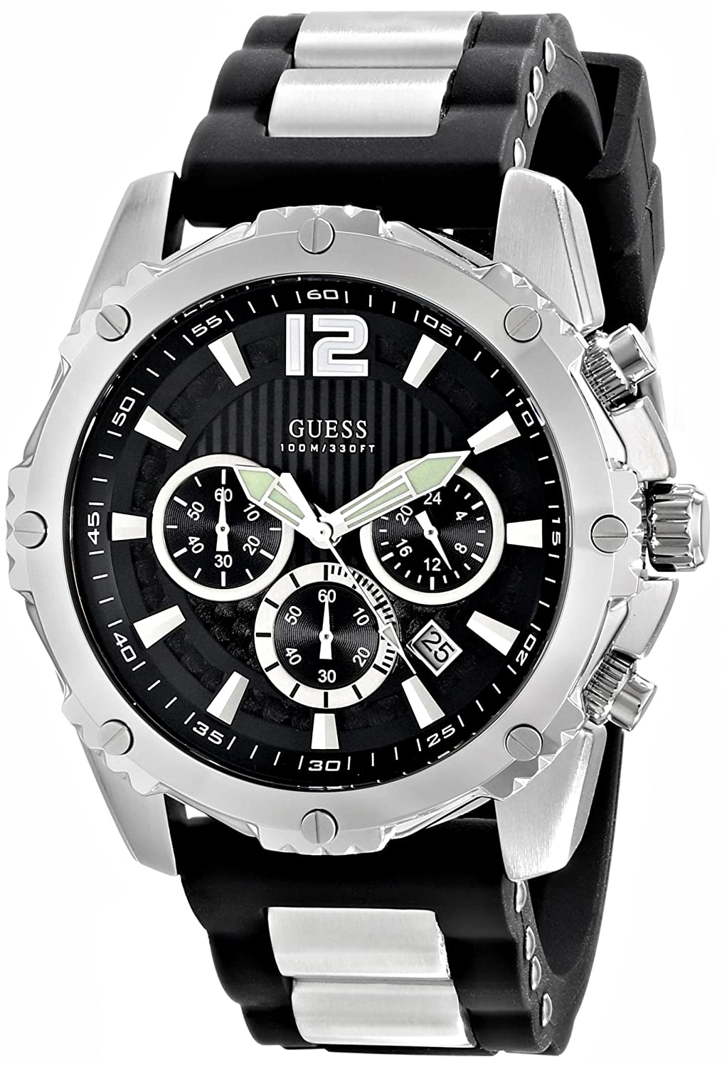 258d78ba8 Amazon.com: GUESS Men's U0167G1 Sporty Silicone & Metal Silver-Tone  Chronograph Watch: Guess: Watches