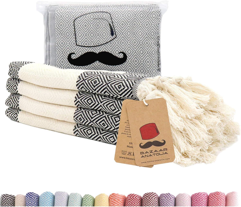 Turkish Hand Towel Set of 4 Diamond Peshtemal Towel 100% Cotton 45x20 Light Weight Thin Quick Dry Hand Hair Gym Face Bath Tea Kitchen Dishcloth Set Decorative Bathroom Towel (Black)