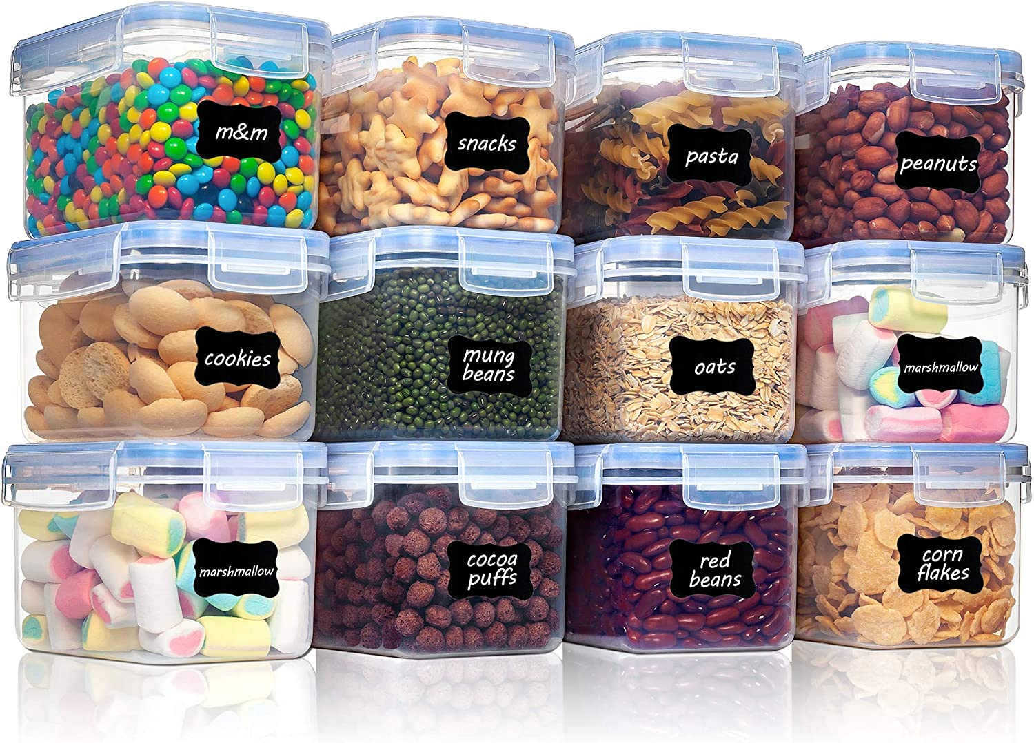 Vtopmart Airtight Food Storage Containers 12 Pieces 0.7qt / 0.8L- Plastic PBA Free Kitchen Pantry Storage Containers for Sugar, Flour and Baking Supplies - Dishwasher Safe - Include 24 Labels, Blue