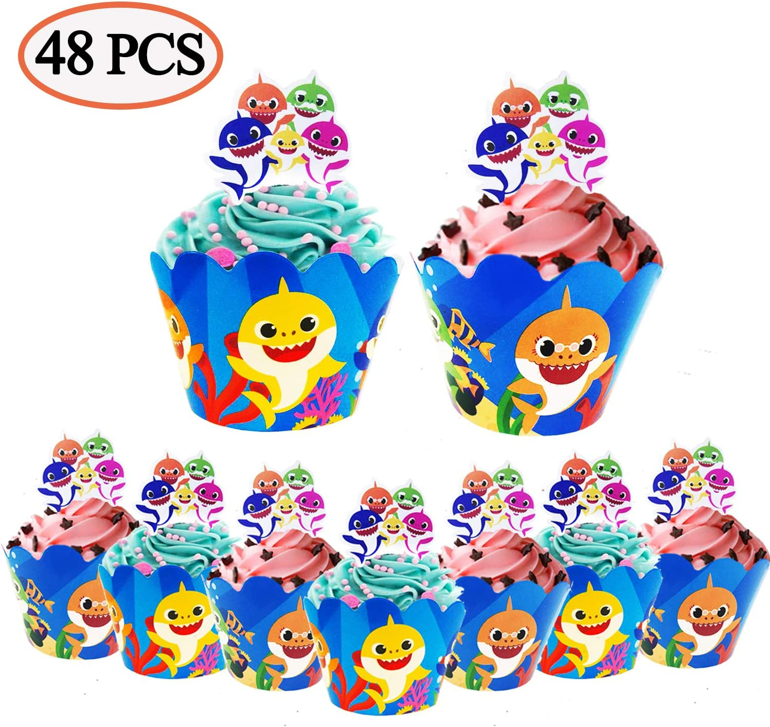 48 Pcs Shark Cupcake Decorations - 24 pcs Shark Cupcake Toppers and 24 pcs Cupcake Wrappers Themed Cake Party Decoration for Kids Birthday Party Supplies