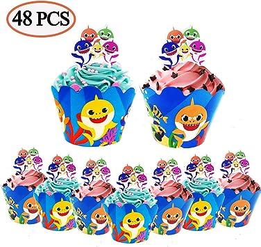 Amazon.com: 48 decoraciones para cupcakes de tiburón bebé ...