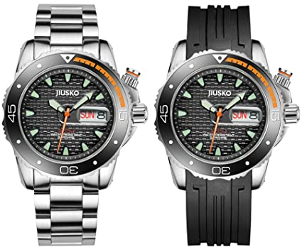 Jiusko Mens Deep Sea Analog Quartz Dive Watch Set - 300m Diver - Sapphire - Stainless
