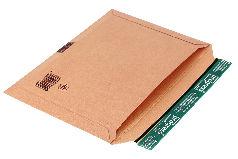 progressPACK PP W05.06 - Busta orizzontale per spedizioni postali, in cartone ondulato, formato DIN B4+, 360 x 250 max. 30 mm, confezione da 25, colore: Marrone progress packaging GmbH P2-5897
