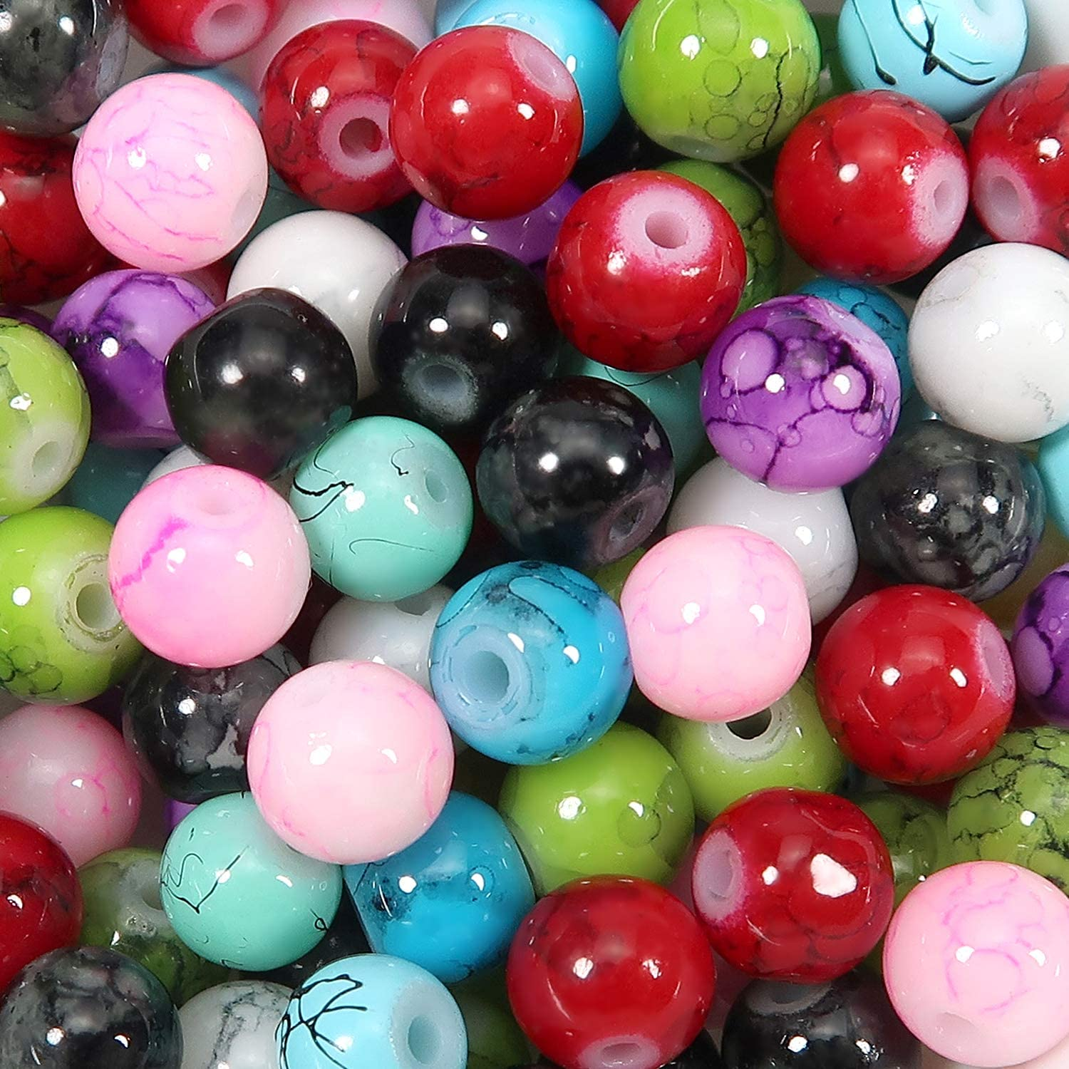TOAOB 100pcs Marble Pattern Round Mixed Colors Glass Beads 6mm for Jewelry Making