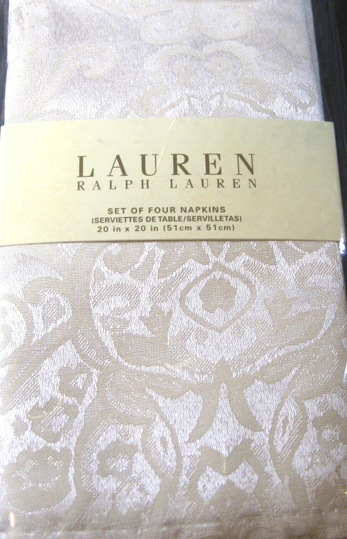 Ralph Lauren Table Linens Part - 47: Amazon.com: Ralph Lauren Paisley White Set Of Four Cloth Napkins: Home U0026  Kitchen