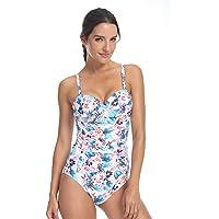 QUEENIEKE Womens Swimsuit One Piece Shirred Tummy Control Printed Swimwear Monokinis