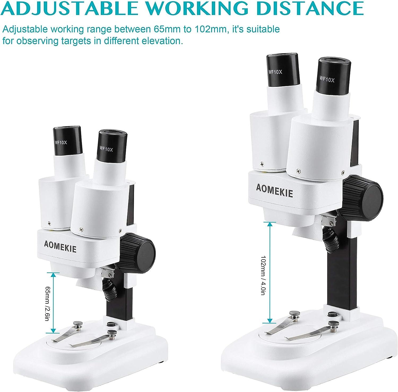 Aomekie Microscopio Estereo 20X Microscopio de binoculares de aumento para estudiantes y niños: Amazon.es: Electrónica