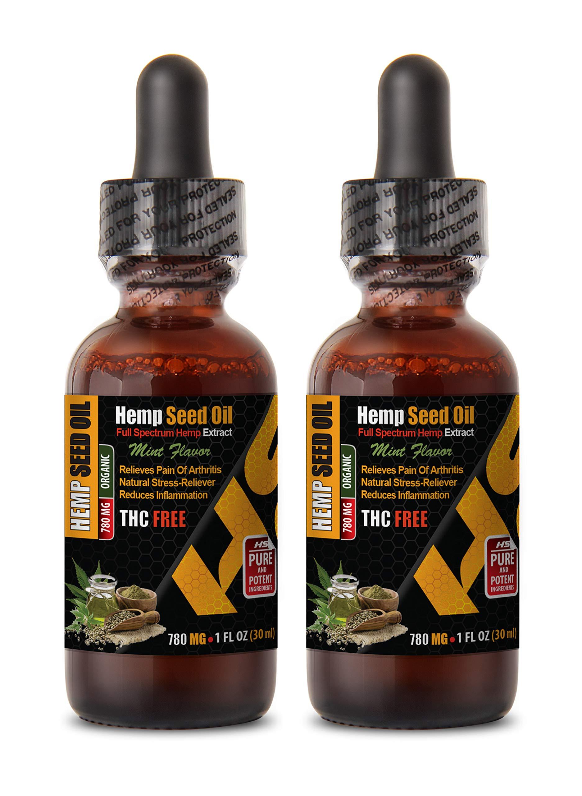 Anti Anxiety Supplements - Hemp Seed Oil Organic Drops 780mg - Mint Flavor - Hemp Oil Relief - 2 Bottles 2 FL OZ (60 ML)