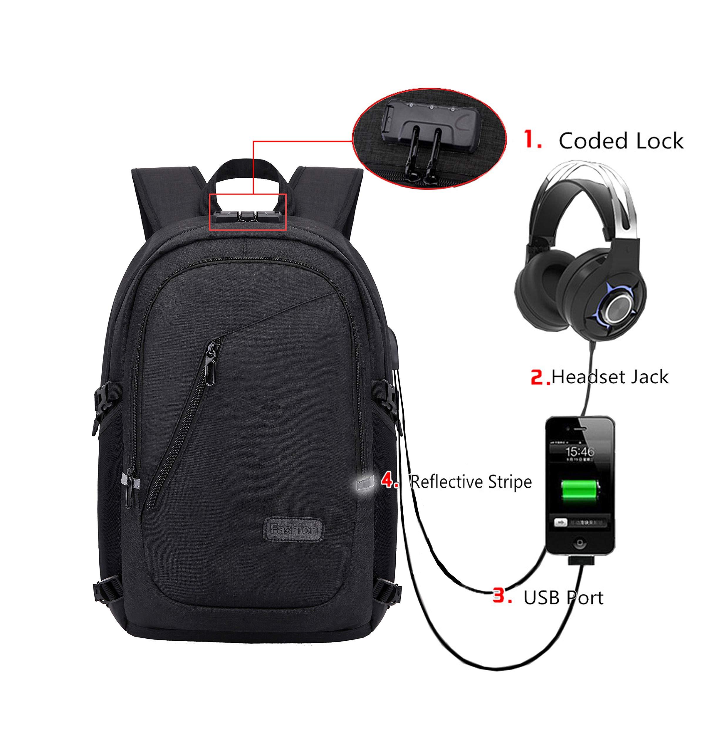 Itopfox Travel Laptop Compartment Backpack USB/Headphone Port Rucksack Computer Bag Anti-Thief Code Lock 17'' Waterproof Canvas Backpack