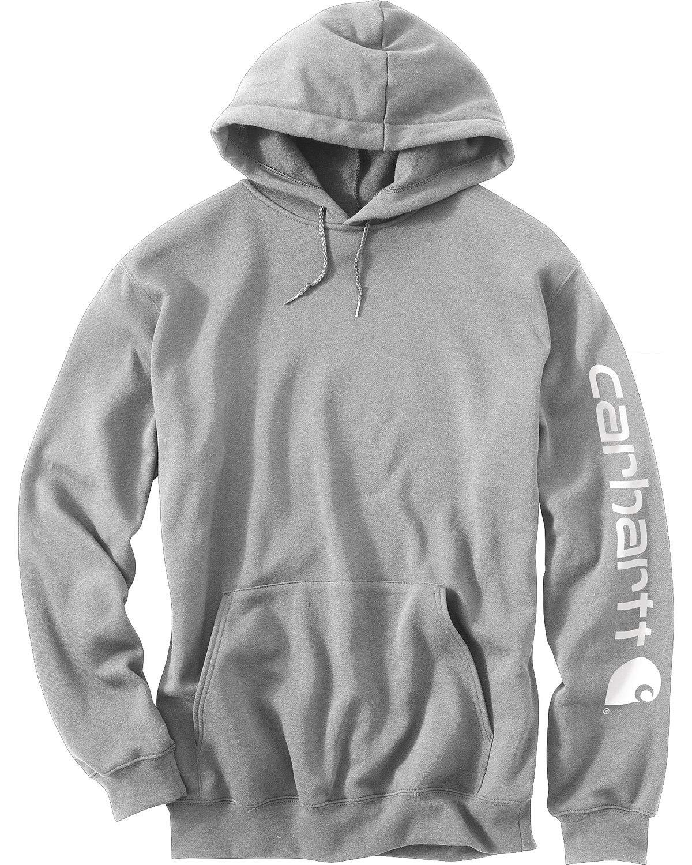 Carhartt Men's Midweight Sleeve Logo Hooded Sweatshirt (Regular and Big & Tall Sizes), Heather Grey, Medium by Carhartt