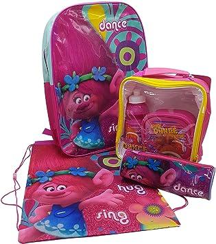 Trolls Back to School Set Incluye Mochila, 3 Piezas Bolsa de Almuerzo Bolsa de Agua, Estuche para lápices y Bolsa para Zapatos de Polietileno Poppy Gym: Amazon.es: Equipaje