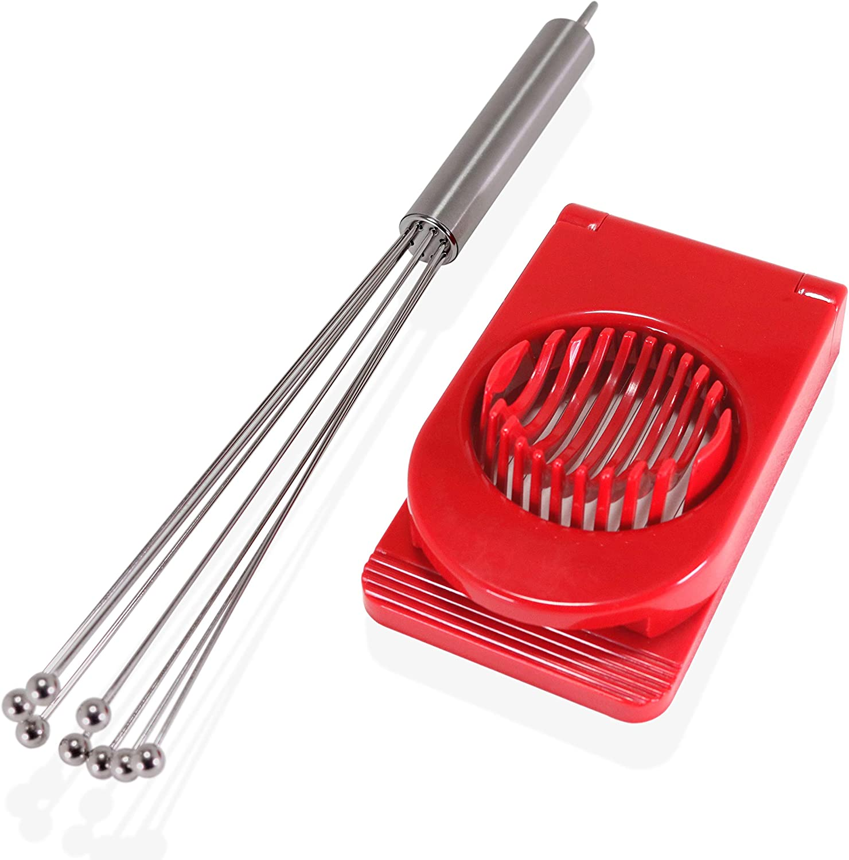 Fouet /à billes en acier inoxydable fum/é 30,5 cm avec trancheuse /à /œufs multifonction