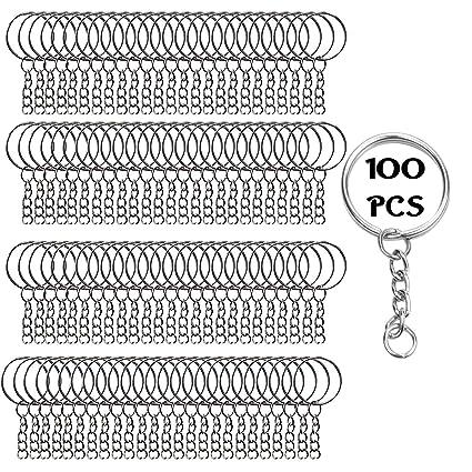 (100 Piezas) Set 100 Llaveros con Cadena y 100 Anillas Abiertas por Kurtzy - Llaveros 25mm Set con Anillas Abiertas para Llavero Personalizado para ...