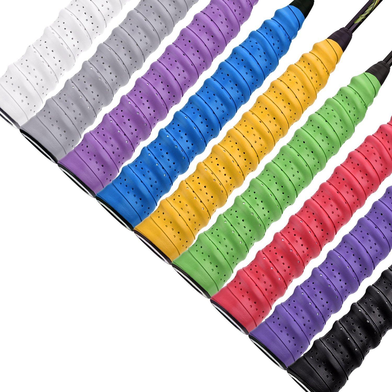 Febbya Griffbänder, 9 Pack Griffband für Tennis Anti Slip Ersatz Schläger Overgrip Multicolor Für Tennis Badminton Squash Racketball Schläger und Angelrute Febbya Griffbänder