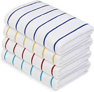 "MIMAATEX Pool/Beach Striped Towel Set - Pack of 4 Pieces - 30""x 60"" inches- 100% Ring Spun Soft Cotton Towels"