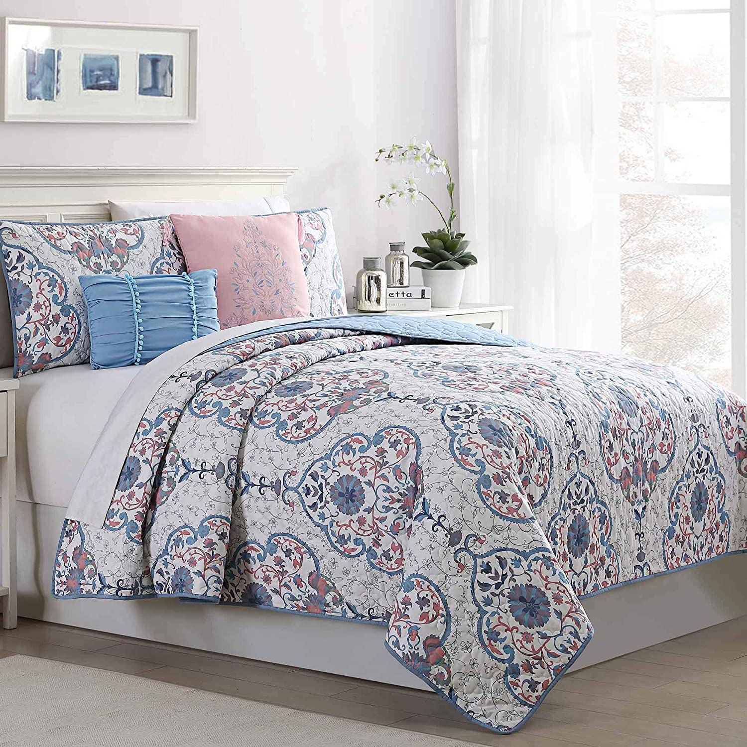 Amrapur Overseas Cardiff 5-Piece Reversible Quilted Coverlet Set Twin Blue
