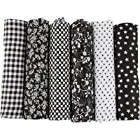 6pcs 50 x 50cm Patchwork Cotton Fabric DIY Handmade Sewing Quilting Fabric Different Designs (Tone-Black)