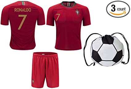 sneakers for cheap 056dd d310e Fan Kitbag Cristiano Ronaldo Soccer Jersey 2018 World Cup #7 Portugal Home  Youth Ronaldo Soccer Jersey & Shorts Kids Premium Gift Kit ✮ BONUS Ronaldo  ...
