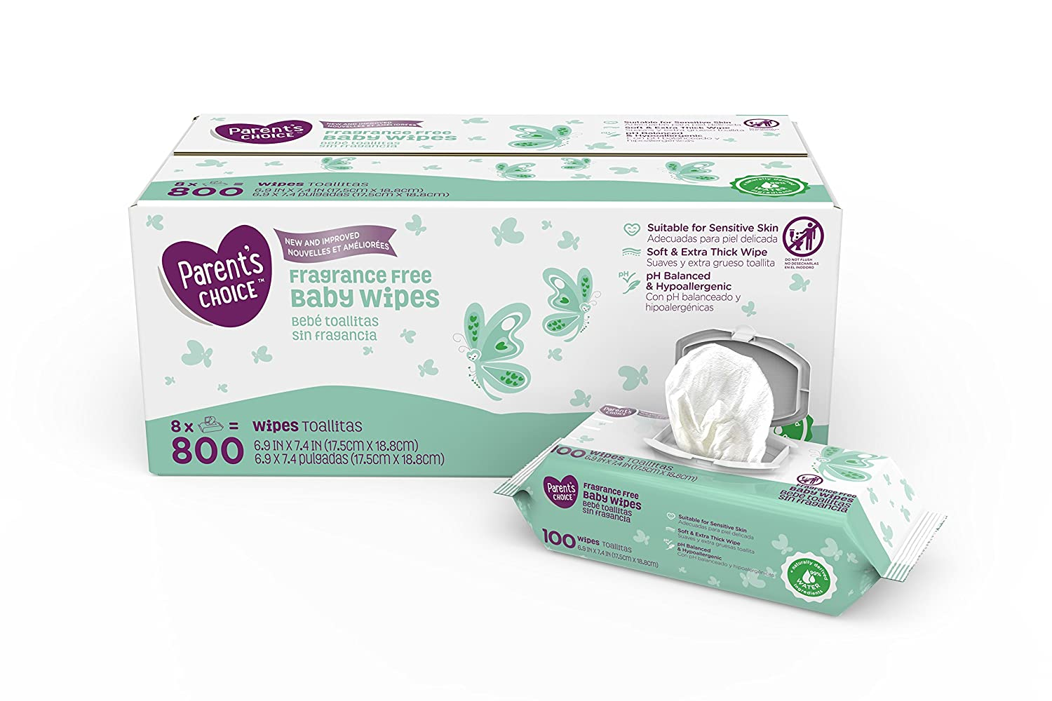 Amazon.com : Parents Choice Fragrance Free Baby Wipes, 8 packs of 100 (800 ct) : Everything Else