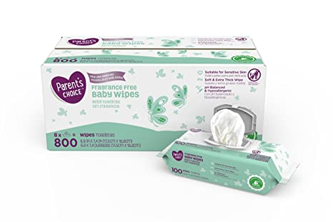 Parents Choice Fragrance Free Baby Wipes, 8 packs of 100 (800 ...