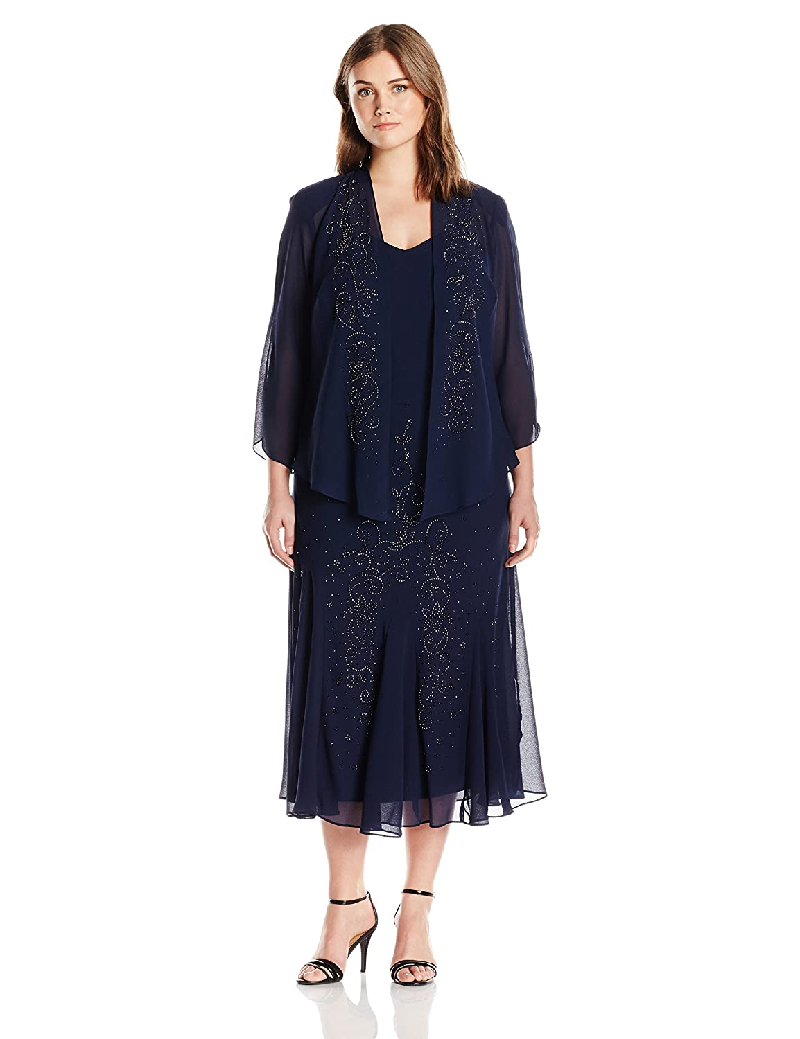 Vintage Evening Dresses and Formal Evening Gowns R&M Richards Womens Plus Size Beaded Chiffon Jacket Dress $139.00 AT vintagedancer.com
