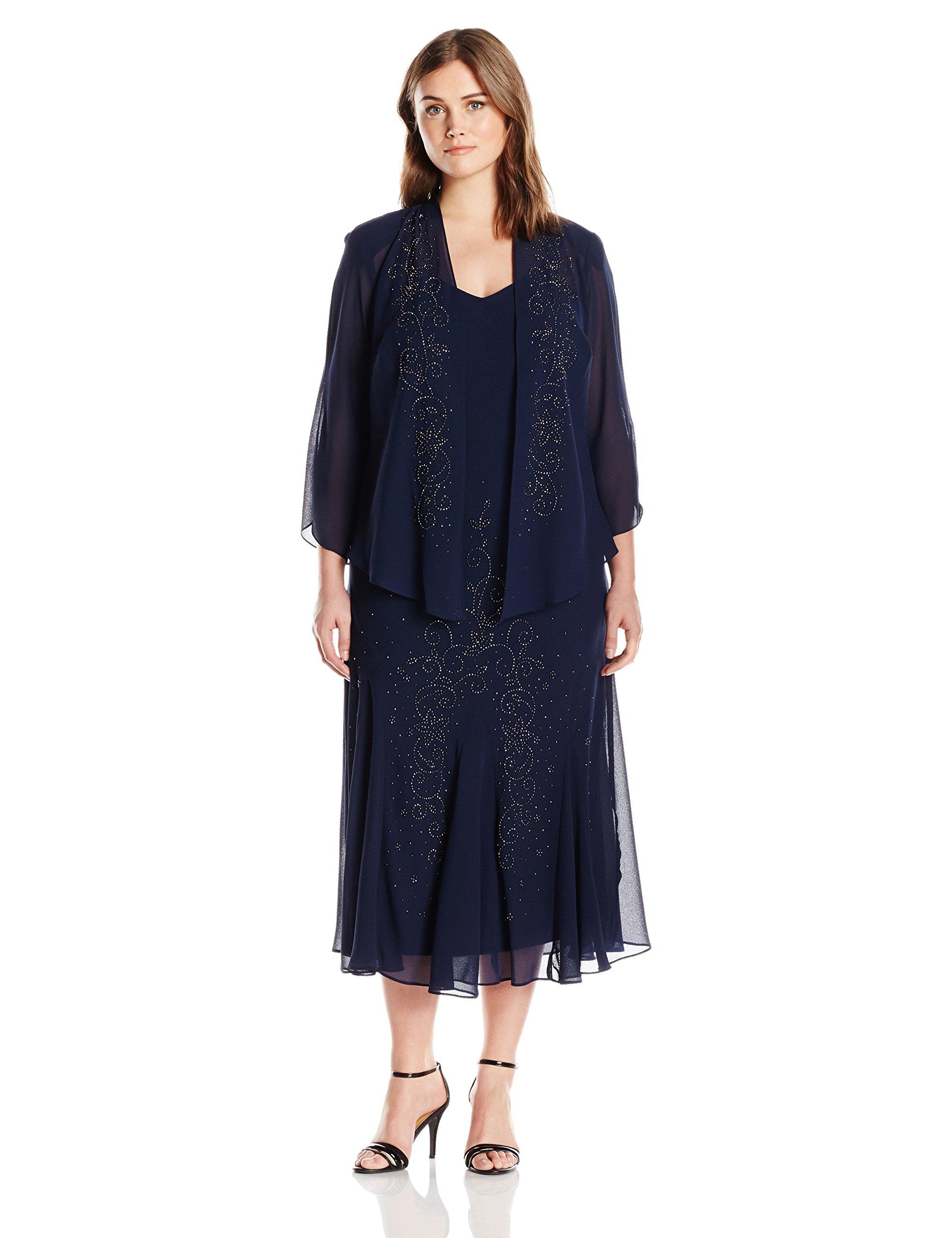 e8b42e23dd13 ... Richards R M Richards Women s Plus Size Beaded Chiffon Jacket Dress