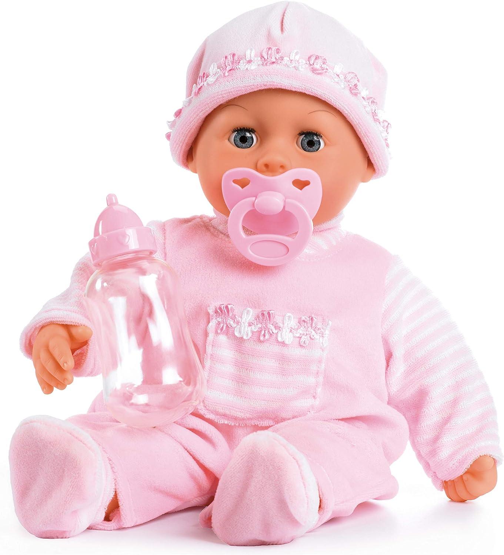 Kinderpuppe Puppe mit Fläschchen /& Kuscheldecke Spielzeugpuppe Babypuppe Emilia