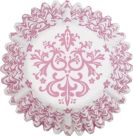 Wilton Baking Cups, Mini, Pink Damask, 100/Pack