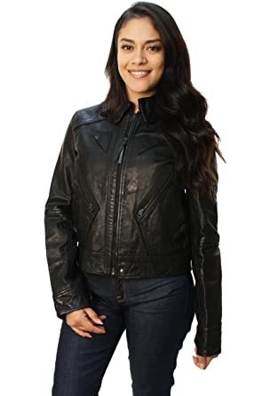 Ralph chaqueta Moto Para de piel Lauren Mujer Polo de vmN0Onw8y