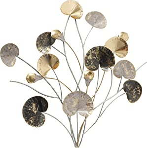 Abstract Botanical Metal Wall Art, Bouquet of Blossoms, Stems and Leaves, Gold Gilt, Silver, Black and Grey Details, Rub-through Distressed, 19.75 Inches, Iron