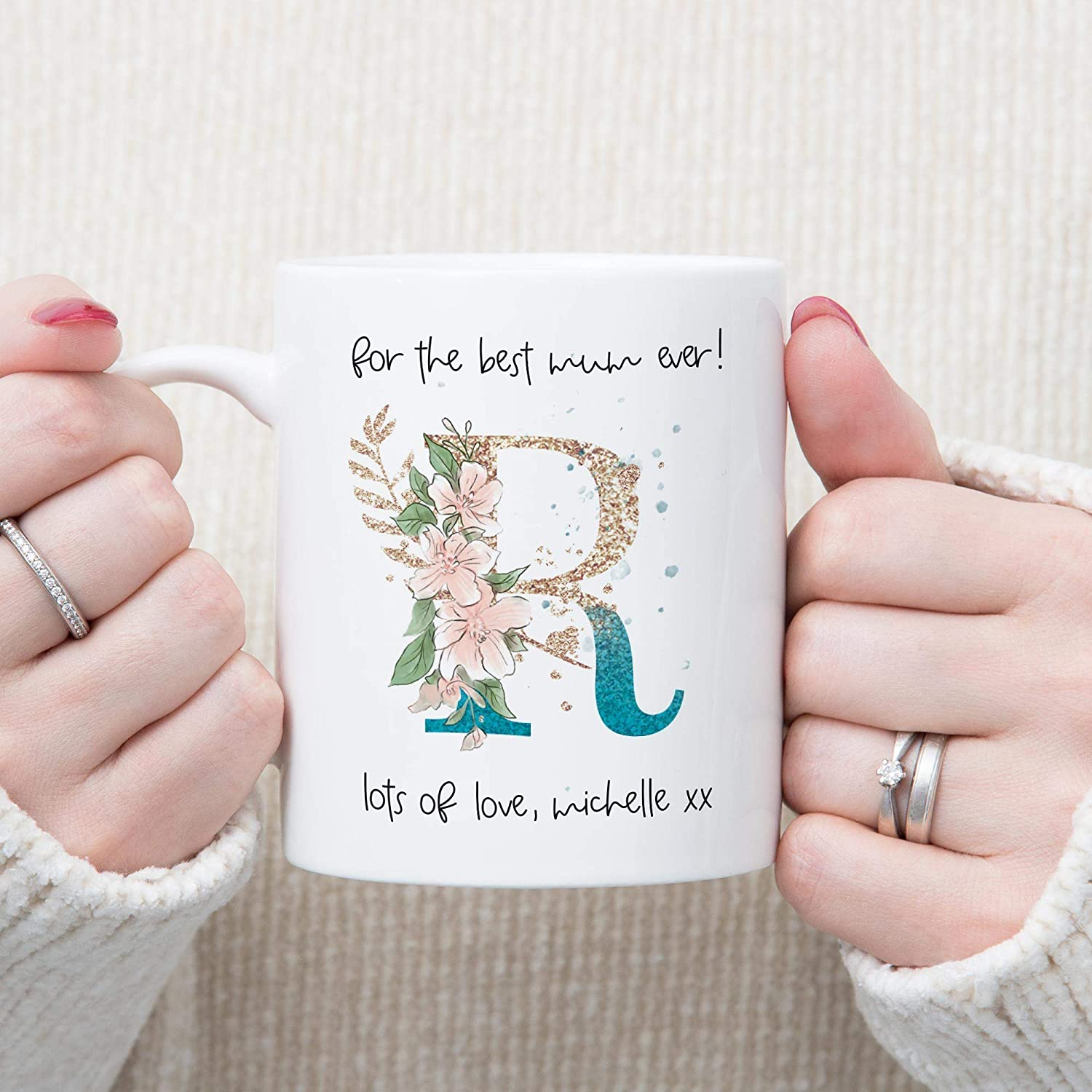Personalised Mothers Day Gift For The Best Mum Ever Monogram Mug Birthday Present