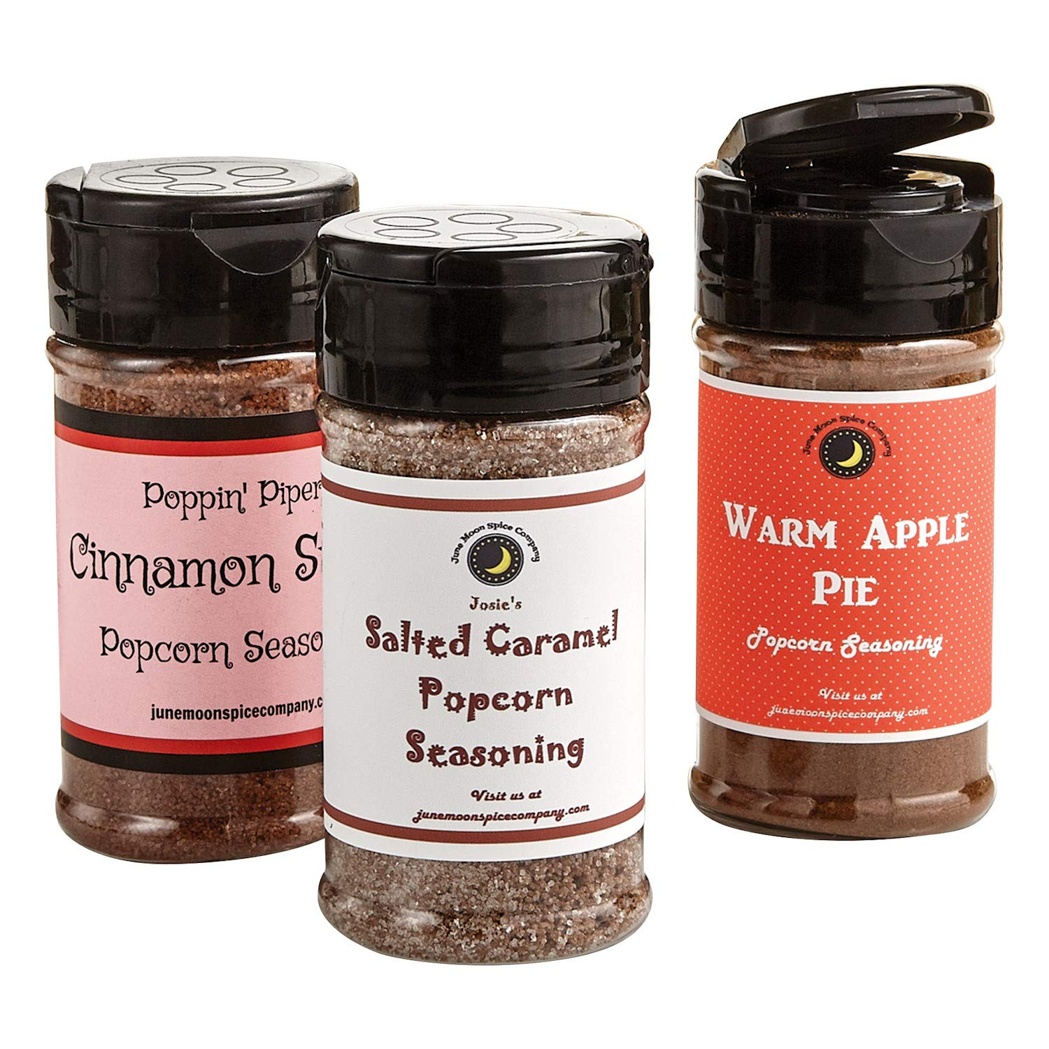 June Moon Spice Company Sweet Popcorn Seasoning Shaker Set - Cinnamon Sugar, Salted Caramel, Warm Apple Pie Flavors - 3.5 Ounces Each by JUNE MOON SPICE COMPANY