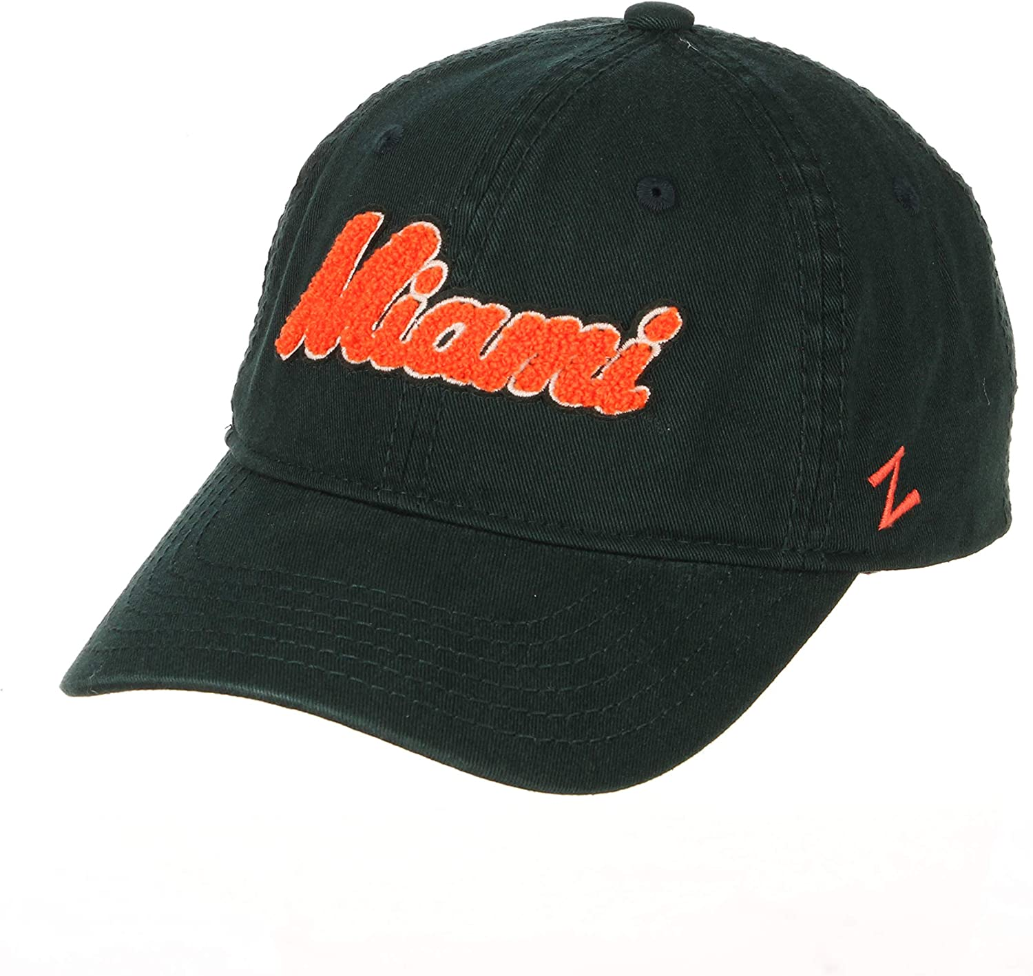 NCAA Zephyr Miami Hurricanes Womens Laurel Relaxed Hat Primary Team Color Adjustable