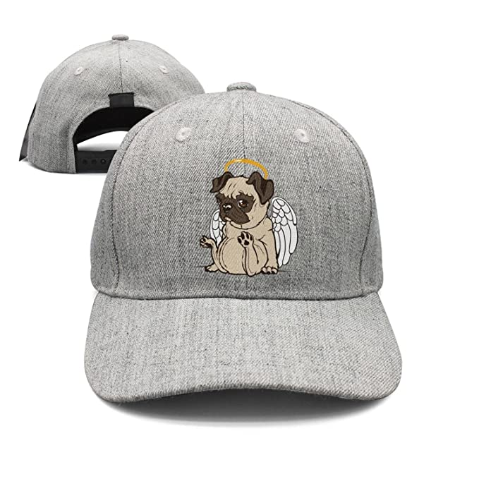 eed33563661 Fit Mens Baseball caps Angel Pug Snapback hat for Men Fit dad hat for Women