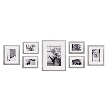 Gallery Perfect Decorative Art Prints & Hanging Template 7 Piece Greywash Photo Frame Wall Kit, Grey