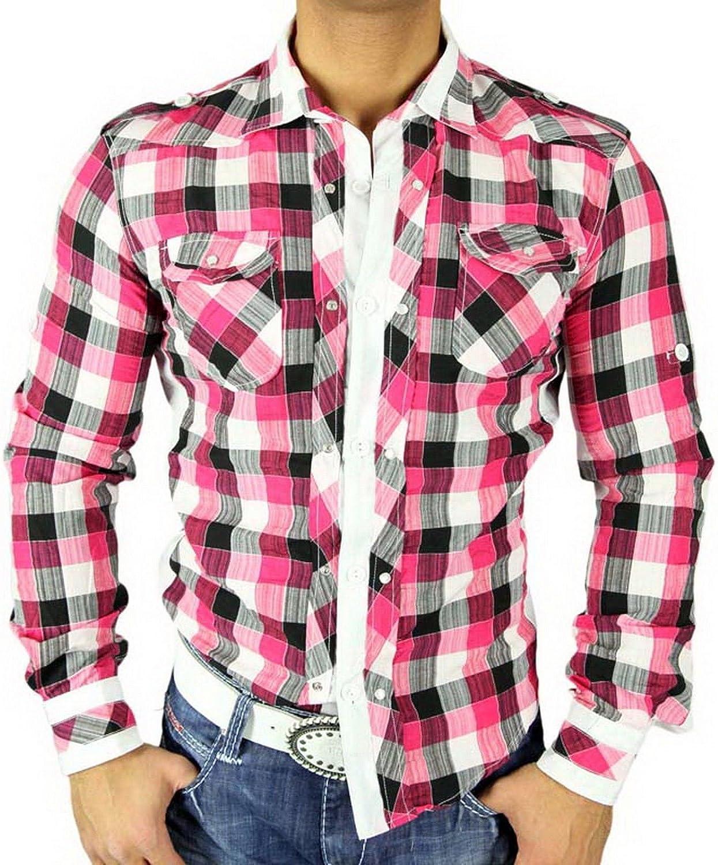 Golden Horn Hombre de cuadros de camisa Slim Fit Polo camisa cuadros color rosa/blanco 616 rosa/blanco medium: Amazon.es: Ropa y accesorios