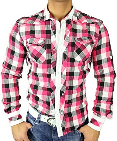 Golden Horn Hombre de cuadros de camisa Slim Fit Polo camisa cuadros color rosa/blanco 616 rosa/blanco medium: Amazon.es: Ropa y accesorios