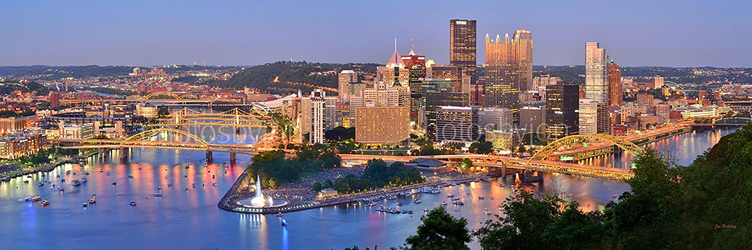 Pittsburgh Skyline Photo Print UNFRAMED Dusk Downtown City Color Art Print Version 11.75 inches x 36 inches Photographic Panorama Poster Picture Standard Size