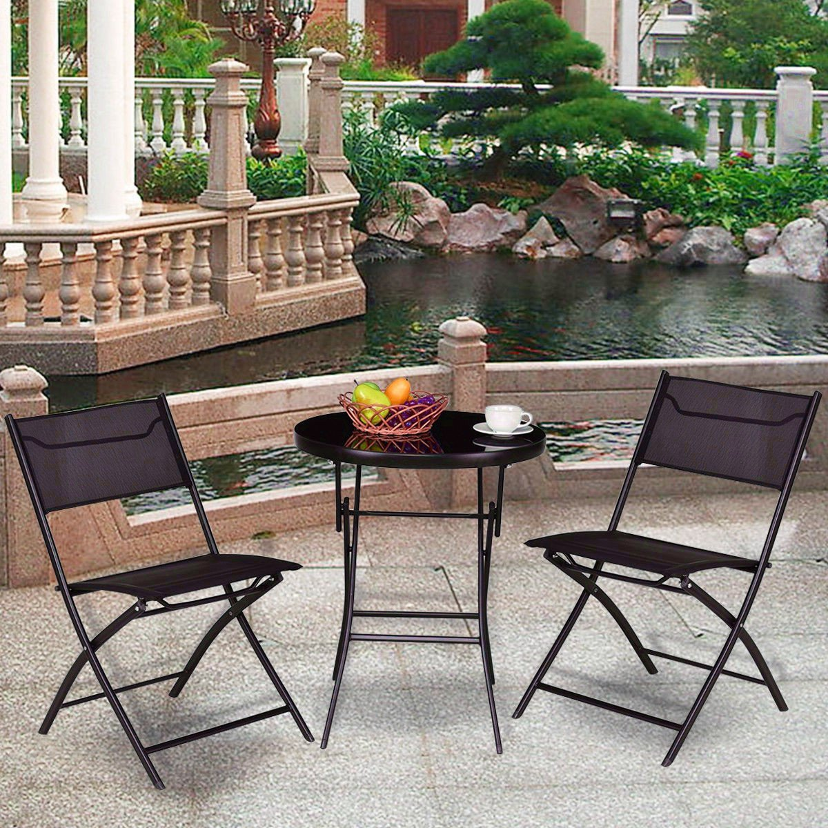 Portable Folding Round Bistro Table Chair Set Outdoor Foldable Lightweight Durable Modern, Coffee Table Set, Practical, Patio, Backyard, Balcony Terrace, Garden, Pool Side & e-book by jn.widetrade