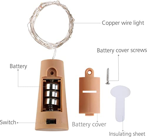 LoveNite Wine Bottle Lights with Cork, 16 Pack with Screwdriver Battery Operated 20 LED Cork Shape Silver Wire Colorful Fairy Mini String Lights for DIY, Party, Christmas, Wedding Cool White