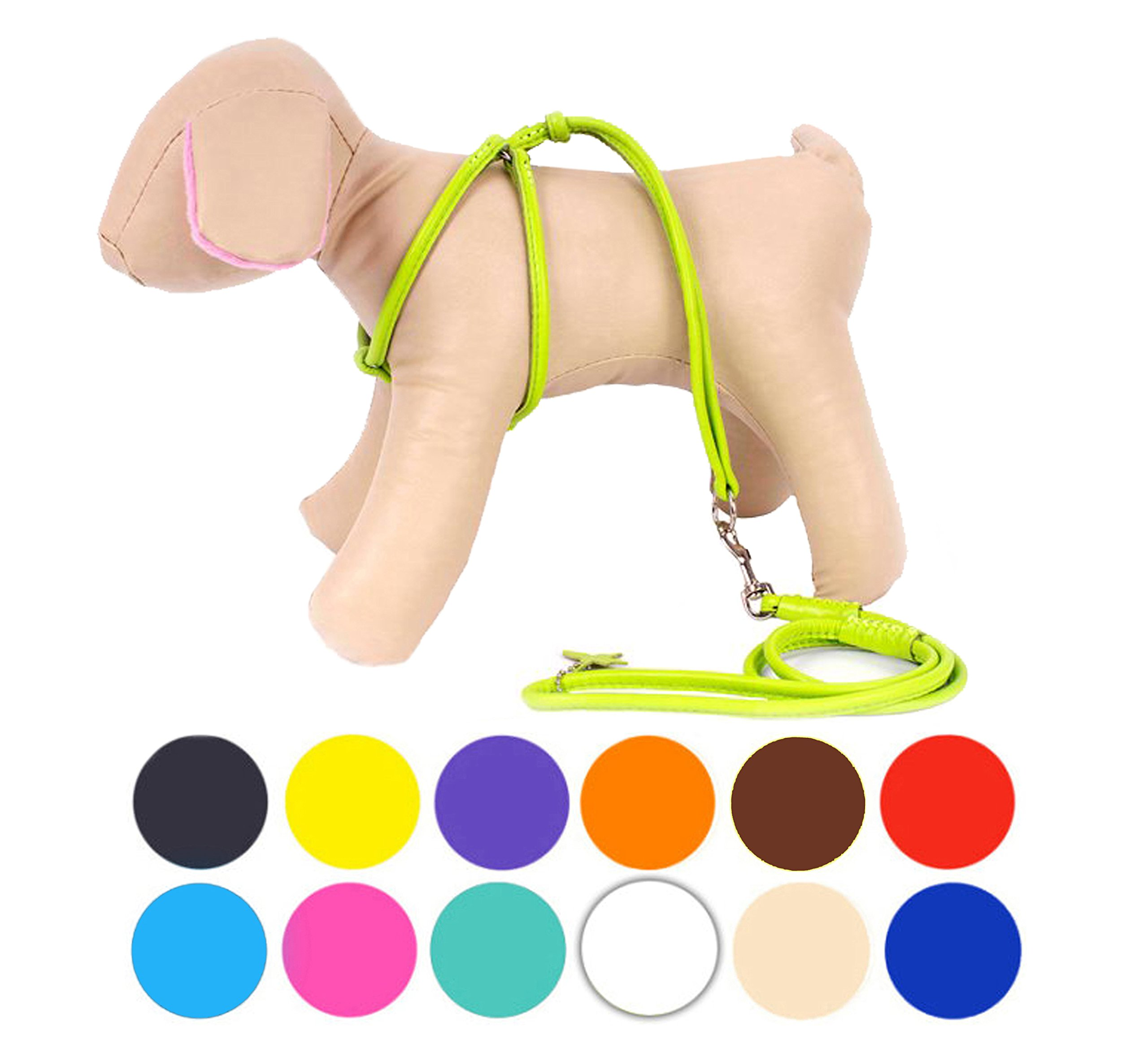CollarDirect Rolled Leather Dog Harness Small Puppy Step-In Leash Set Walking Pink Red White Blue Green Black Purple Beige Brown Yellow (Lime Green, XS)