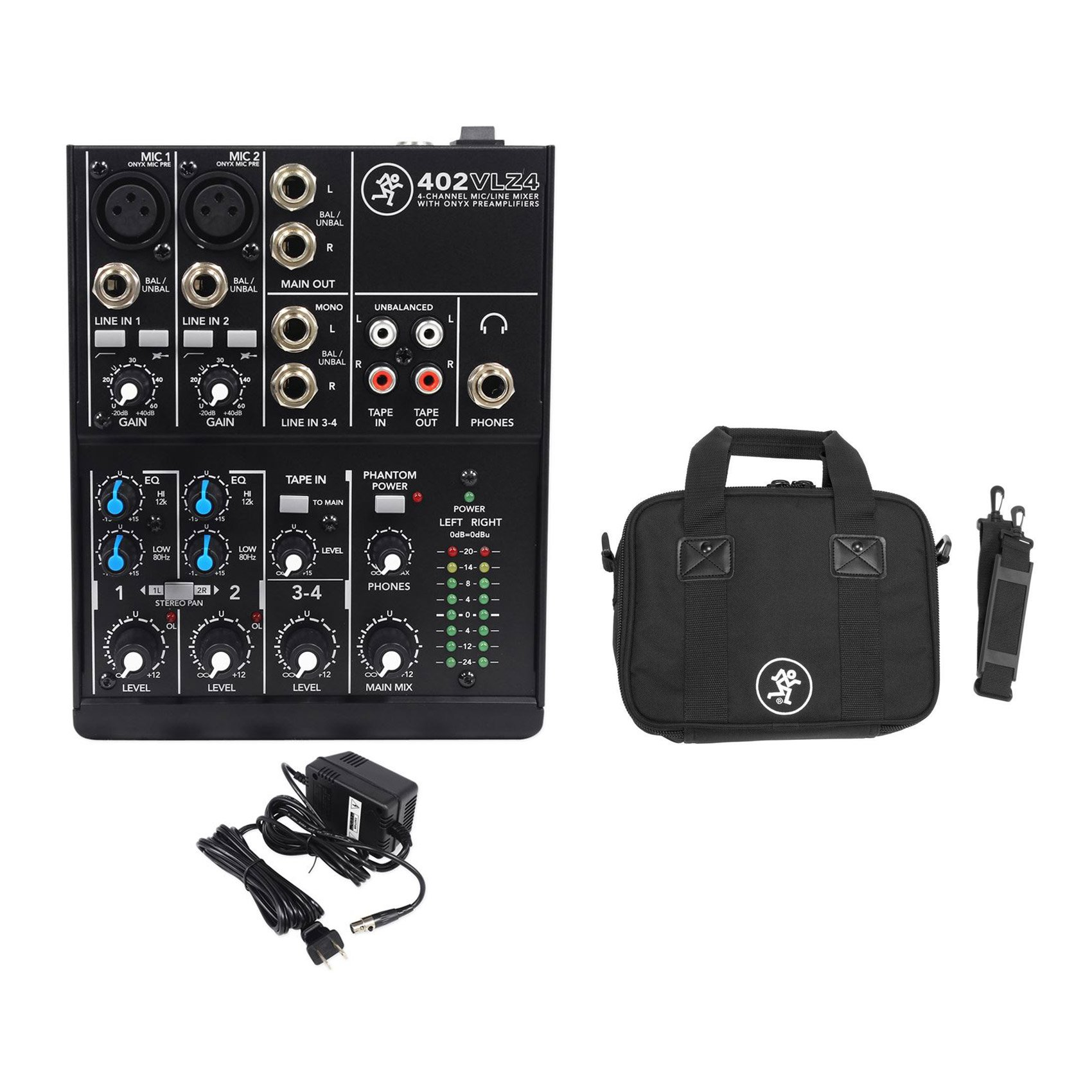 New! Mackie 402VLZ4 4-ch. Compact Analog Low-Noise Mixer w/ 2 ONYX Preamps + Bag